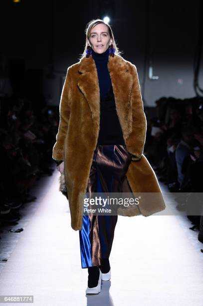 Hannelore Knuts walks the runway during the Dries Van Noten show as part of the Paris Fashion Week Womenswear Fall/Winter 2017/2018 on March 1 2017...