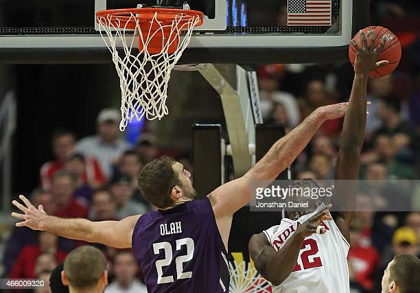 Hanner MosqueraPerea of the Indiana Hoosiers puts up a shot against Alex Olah of the Northwestern Wildcats during the second round of the 2015 Big...