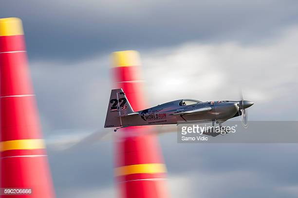 Hannes Arch of Austria performs during the qualifying day at the fifth stage of the Red Bull Air Race World Championship on August 13 2016 in Ascot...