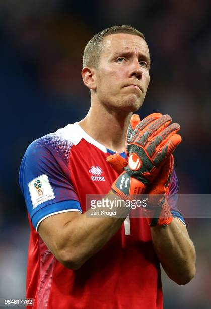 Hannes Halldorsson of Iceland applauds fans after the 2018 FIFA World Cup Russia group D match between Iceland and Croatia at Rostov Arena on June 26...
