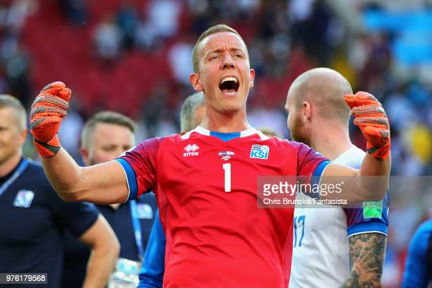 Hannes Halldorsson of Iceland celebrates after his side drew during the 2018 FIFA World Cup Russia group D match between Argentina and Iceland at...