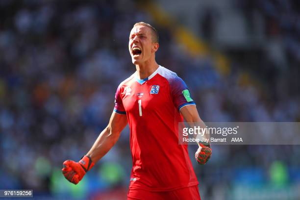 Hannes Halldorsson of Iceland celebrates after teammate Alfred Finnbogason scored to make it 11 during the 2018 FIFA World Cup Russia group D match...