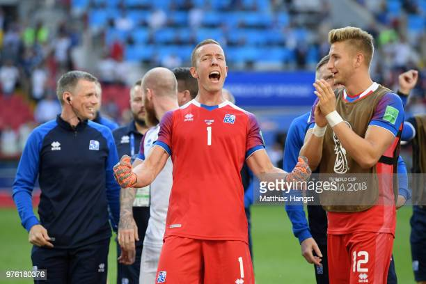 Hannes Halldorsson of Iceland celebrates following the 2018 FIFA World Cup Russia group D match between Argentina and Iceland at Spartak Stadium on...