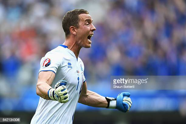 Hannes Halldorsson of Iceland celebrates his team's first goal during the UEFA EURO 2016 Group F match between Iceland and Austria at Stade de France...