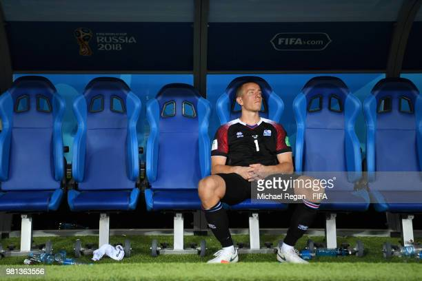 Hannes Halldorsson of Iceland looks dejected following his sides defeat in the 2018 FIFA World Cup Russia group D match between Nigeria and Iceland...