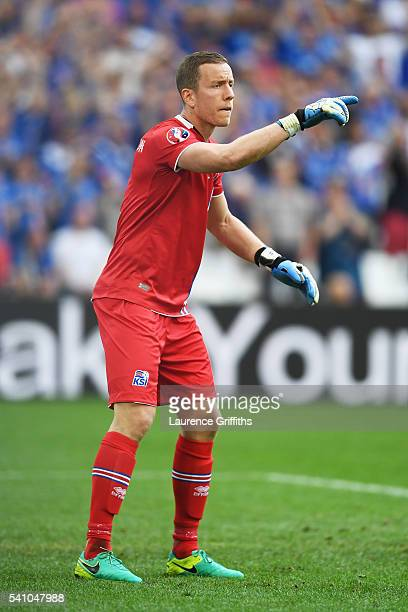 Hannes Halldorsson of Iceland looks on during the UEFA EURO 2016 Group F match between Iceland and Hungary at Stade Velodrome on June 18 2016 in...