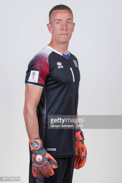 Hannes Halldorsson of Iceland poses during the official FIFA World Cup 2018 portrait session at Resort Centre Nadezhda on June 11 2018 in Gelendzhik...