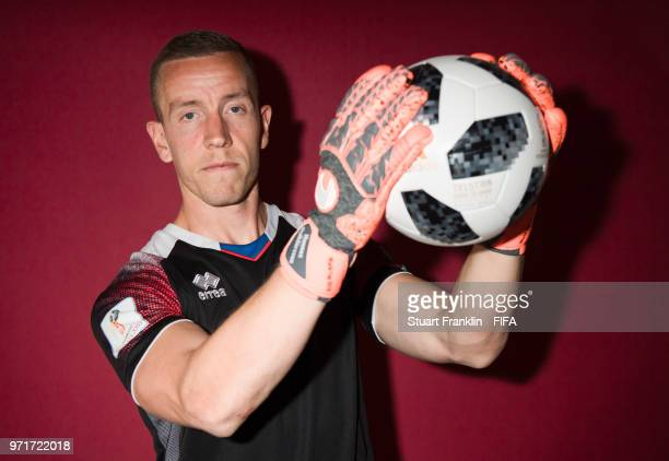 Hannes Halldorsson of Iceland poses for a picture during the official FIFA World Cup 2018 portrait session at on June 11 2018 in Gelendzhik Russia
