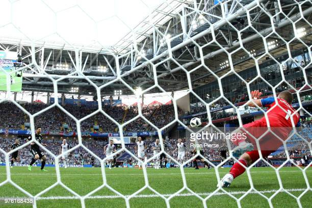 Hannes Halldorsson of Iceland saves a penalty from Lionel Messi of Argentina during the 2018 FIFA World Cup Russia group D match between Argentina...