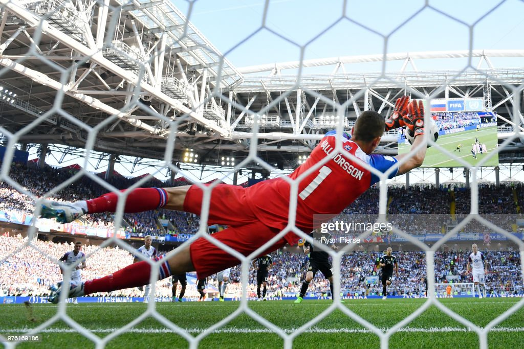 Hannes Halldorsson of Iceland saves a penalty kick from Lionel Messi of Argentina during the 2018 FIFA World Cup Russia group D match between Argentina and Iceland at Spartak Stadium on June 16, 2018 in Moscow, Russia.