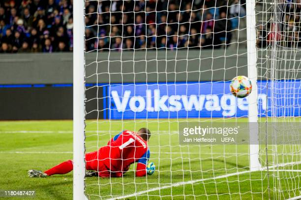 Hannes Halldorsson of Iceland tries to catch the ball during the UEFA Euro 2020 qualifier between Iceland and France on October 11 2019 in Reykjavik...