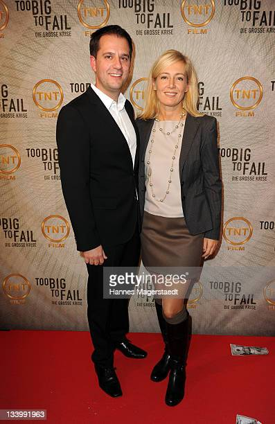 Hannes Heyelmann and Judith Milberg attend 'Too Big to Fail preview screening of German Pay TV channel TNT Film at Mathaeser Filmpalast on November...