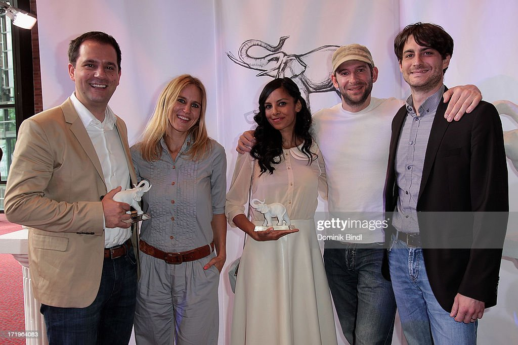 Hannes Heyelmann, Andrea Guenther, Collien Ulmen Fernandes, David Gromer and Christian Honeck attends the award event 'Kinder-Medien-Preis 2013 at Gasteig on June 30, 2013 in Munich, Germany.Cartoon Network's local production 'Cartoon Network Spurensuche - Schnitzeljagd war gestern' with host Collien Ulmen-Fernandes was awarded at the event.