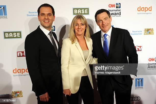 Hannes Heyelmann , Deborah Rayner and Jonathan Mann attend the CNN Journalist Award 2012 at the GOP Variete Theater on March 27, 2012 in Munich,...