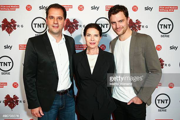 Hannes Heyelmann Gudrun Landgren and Friedrich Muecke attend TNT Serie's preview screening of 'Weinberg' at Residenz on September 30 2015 in Cologne...