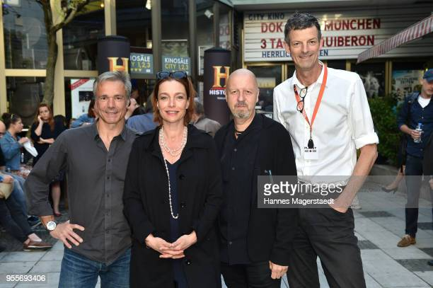 Hannes Jaenicke Aglaia Szyszkowitz HistoryChannelCEO Andreas Weinek and DOKfest festival director Daniel Sponsel attend a photo call for new...