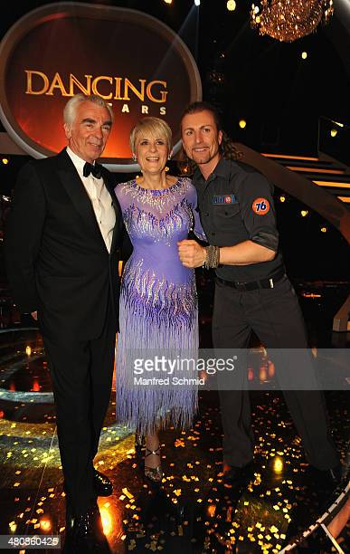 Hannes Nedbal Lisbeth Bischoff and Gerhard Egger pose for a photograph during the 'Dancing Stars' TV Show after party at ORF Zentrum on March 21 2014...
