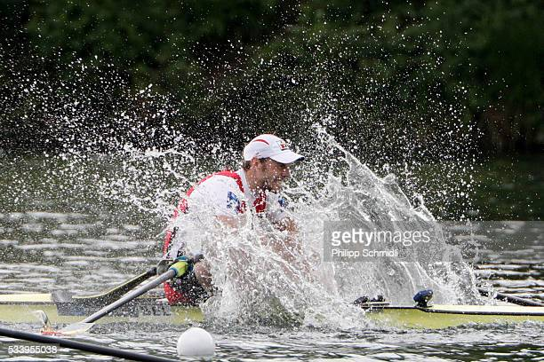 Hannes Obreno of Belgium row to victory in the Men's Single Sculls final during Day 3 of the 2016 FISA European And Final Olympic Qualification...