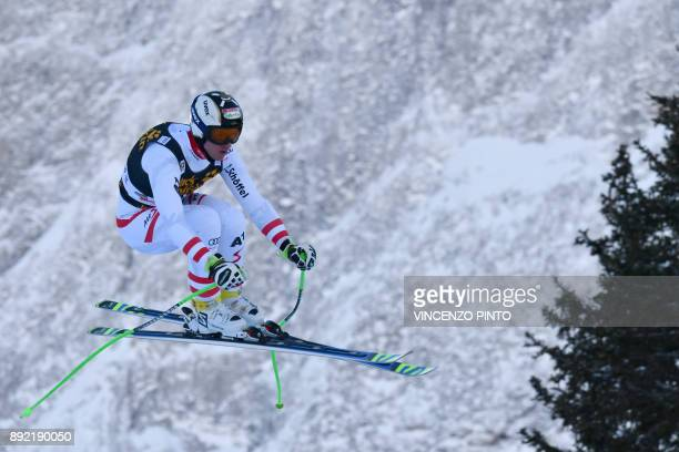 Hannes Reichelt from Austria competes during a training for the FIS Alpine World Cup Men Downhill on December 14 2017 in Val Gardena Italian Alps /...