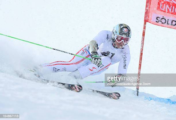 Hannes Reichelt of Austria competes during the Audi FIS Alpine Ski World Cup Men's Giant Slalom on October 28, 2012 in Solden, Austria.