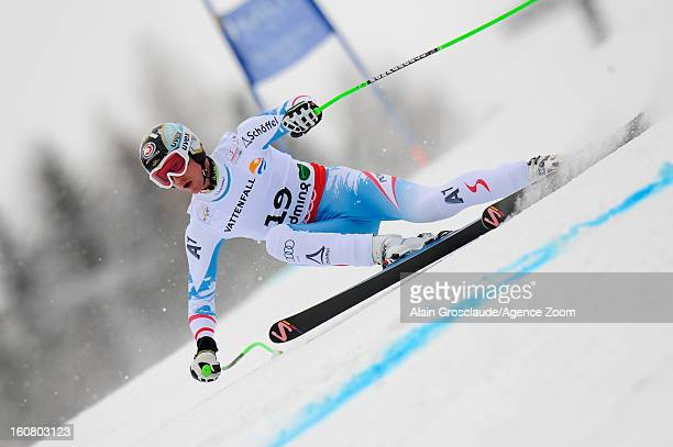 Hannes Reichelt of Austria competes during the Audi FIS Alpine Ski World Championships Men's SuperG on February 06 2013 in Schladming Austria