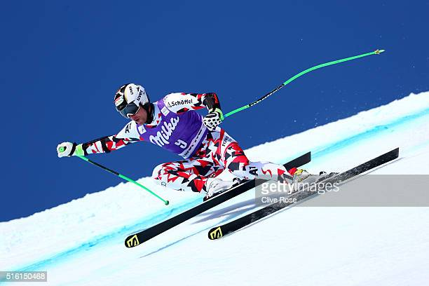 Hannes Reichelt of Austria competes during the Audi FIS Alpine Ski World Cup Finals Men's and Women's SuperG on March 17 2016 in St Moritz Switzerland