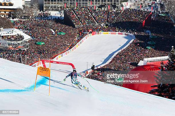 Hannes Reichelt of Austria competes during the Audi FIS Alpine Ski World Cup Men's Downhill on January 21 2017 in Kitzbuehel Austria