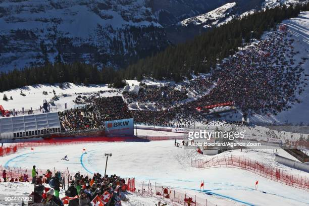 Hannes Reichelt of Austria competes during the Audi FIS Alpine Ski World Cup Men's Downhill on January 13 2018 in Wengen Switzerland