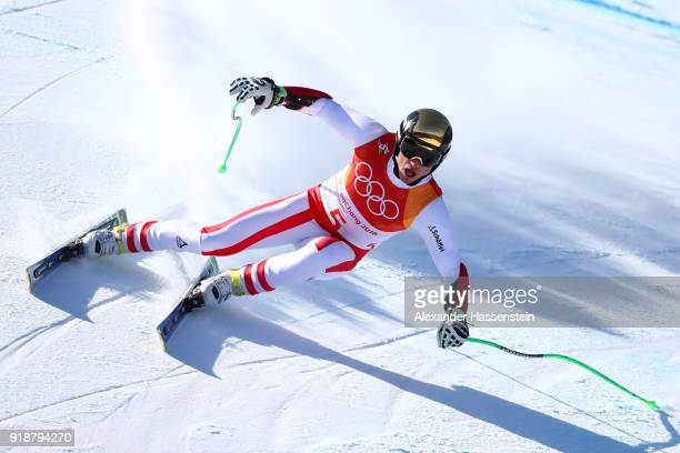 Hannes Reichelt of Austria competes during the Men's SuperG on day seven of the PyeongChang 2018 Winter Olympic Games at Jeongseon Alpine Centre on...