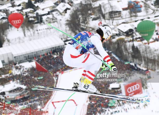 Hannes Reichelt of Austria competes in the men's downhill event at the FIS Alpine World Cup in Kitzbuehel Austria on January 20 2018 / AFP PHOTO /...
