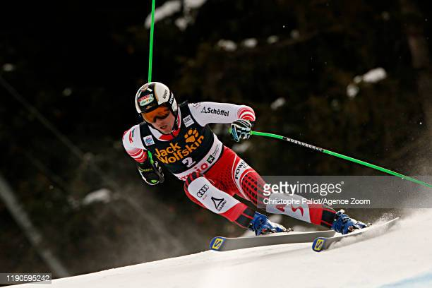 Hannes Reichelt of Austria in action during the Audi FIS Alpine Ski World Cup Men's Downhill on December 27, 2019 in Bormio Italy.