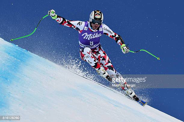 Hannes Reichelt of Austria in action during the the Audi FIS Alpine Ski World Cup Finals Men's and Women's Super G on March 17 2016 in St Moritz...