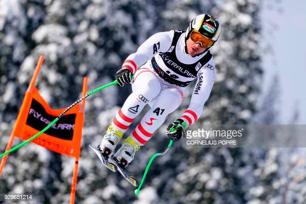 Hannes Reichelt of Austria in air during the FIS Ski World Cup Alpine Mens Downhill Training in Kvitfjell Norway Friday March 9 2018 / AFP PHOTO /...