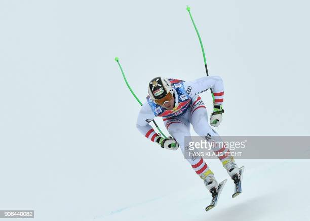 Hannes Reichelt of Austria performs during a training session of the FIS Alpine World Cup Men's downhill event in Kitzbuehel Austria on January 18...