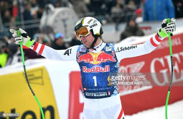 Hannes Reichelt of Austria reacts after competing in the men's downhill event at the FIS Alpine World Cup in Kitzbuehel Austria on January 20 2018...