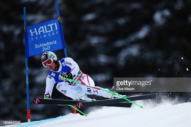 Hannes Reichelt of Austria skis in the Men's Downhill Training during the Alpine FIS Ski World Championships on February 7 2013 in Schladming Austria