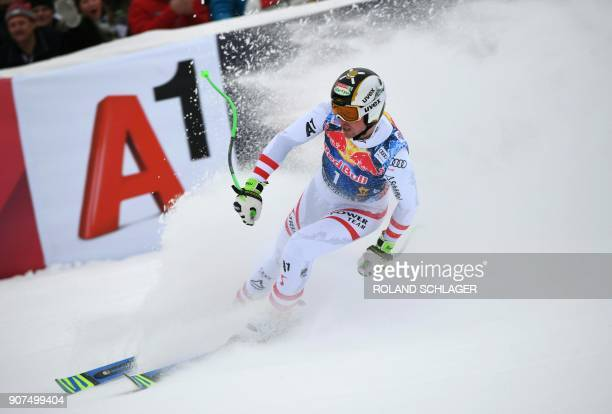 Hannes Reichelt of Austria stops after competing in the men's downhill event at the FIS Alpine World Cup in Kitzbuehel Austria on January 20 2018...