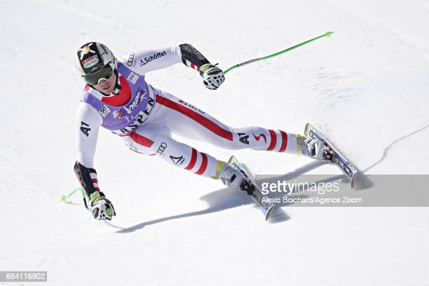 Hannes Reichelt of Austria takes 1st place during the Audi FIS Alpine Ski World Cup Finals Women's and Men's SuperG on March 16 2017 in Aspen Colorado