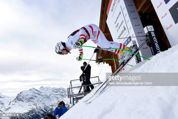 Hannes Reichelt of Austria takes 1st place during the Audi FIS Alpine Ski World Cup Men's Downhill Training on January 10 2018 in Wengen Switzerland