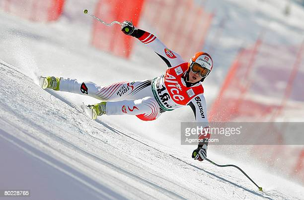 Hannes Reichelt of Austria takes 1st place during the Men's Super G event at the Alpine FIS Ski World Cup on March 13 2008 in Bormio Italy
