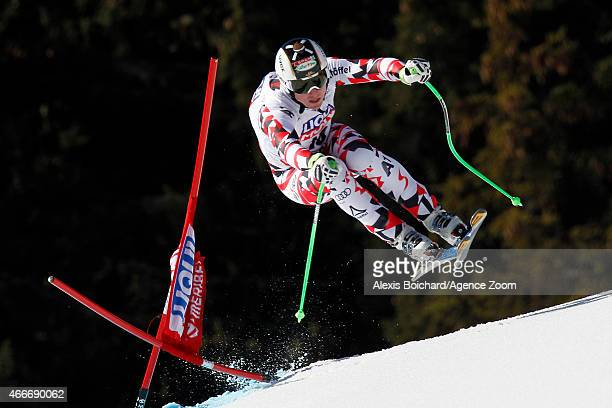 Hannes Reichelt of Austria takes 2nd place in the overall World Cup downhill during the Audi FIS Alpine Ski World Cup Finals Men's Downhill on March...