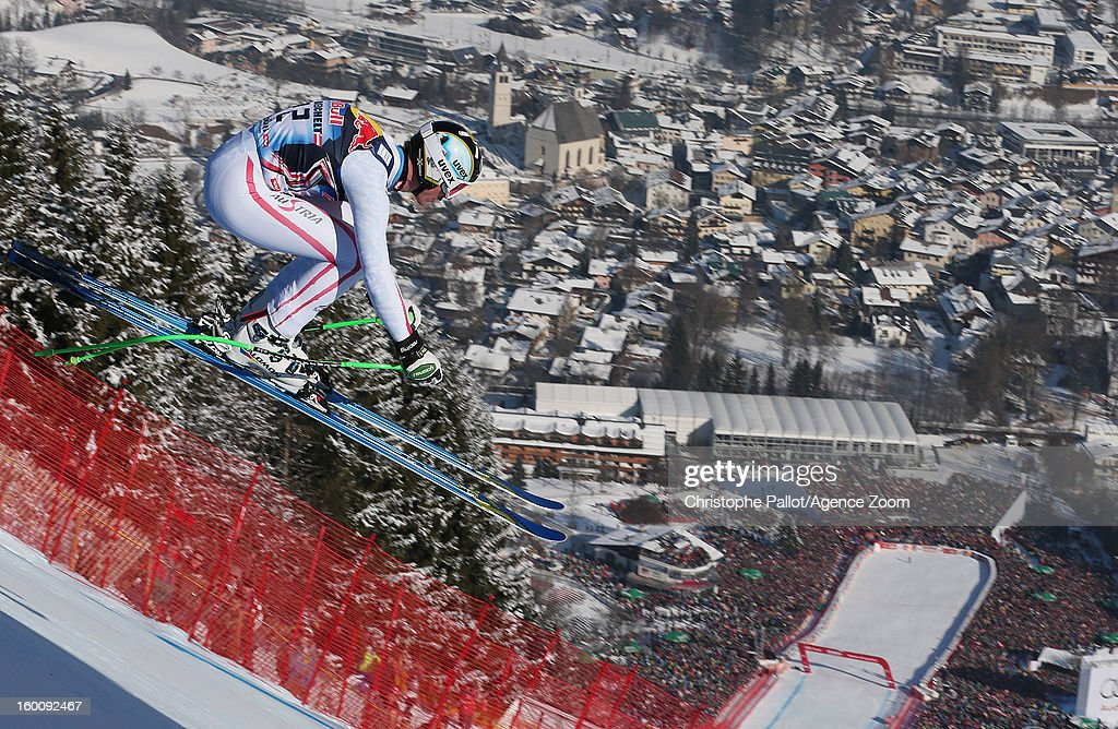 Hannes Reichelt of Austria takes 3rd place during the Audi FIS Alpine Ski World Cup Men's Downhill on January 26, 2013 in Kitzbuehel, Austria.