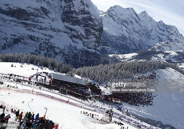 Hannes Reichelt of Austria takes the 1st place during the Audi FIS Alpine Ski World Cup Men's Downhill on January 18 2015 in Wengen Switzerland