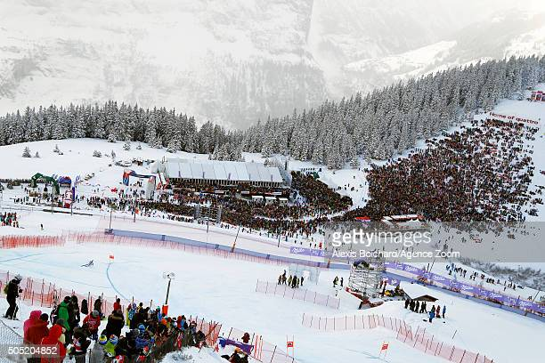 Hannes Reichelt of Austria takes the 2nd place during the Audi FIS Alpine Ski World Cup Men's Downhill on January 16 2016 in Wengen Switzerland