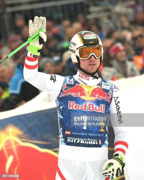 Hannes Reichelt of Austria waves after competing in the men's downhill event at the FIS Alpine World Cup in Kitzbuehel Austria on January 20 2018...