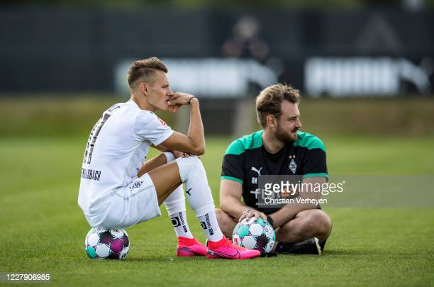 Hannes Wolf and Assistant Coach Rene Maric of Borussia Moenchengladbach are seen during the first training session Season 2020/21 of Borussia...