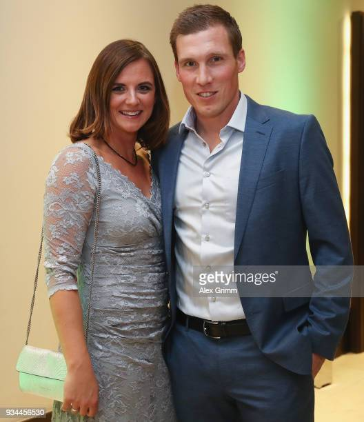 Hannes Wolf and his wife Julia pose during the Coaching Award Ceremony Closing Event UEFA Pro Coaching Course 2017/2018 at Kempinski Hotel Frankfurt...