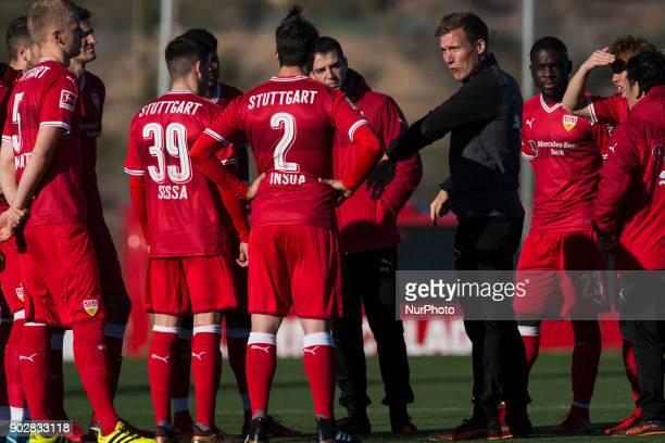 Hannes Wolf Emiliano Insua Nicolaas Sessa Timo Baumgartl during the friendly match between Stuttgart vs Oostende at La Manga Club Murcia SPAIN 08th...