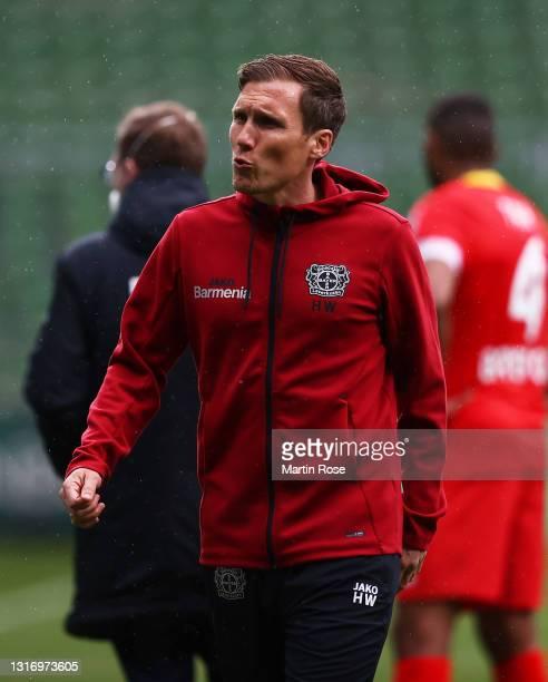 Hannes Wolf, Head Coach of Bayer Leverkusen reacts after the Bundesliga match between SV Werder Bremen and Bayer 04 Leverkusen at Wohninvest...