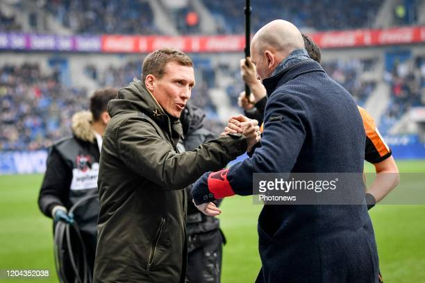 Hannes Wolf head coach of Genk and Philippe Clement head coach of Club Brugge during the Jupiler Pro League match between KRC Genk and Club Brugge KV...